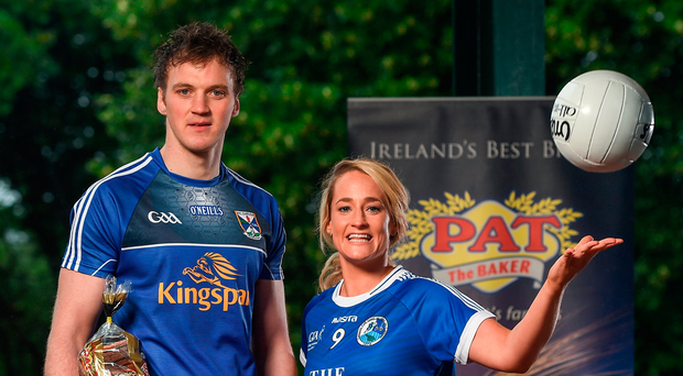 Cavan footballers and partners Gearoid McKiernan and Donna English at the WGPA's recent announcement that they have joined forces with Pat The Baker as part of a five-year deal. Photo: Seb Daly/Sportsfile