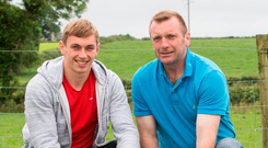 Clare hurler David McInerney and his dad Jim on their farm in Tulla, Co Clare. Photo: Press 22