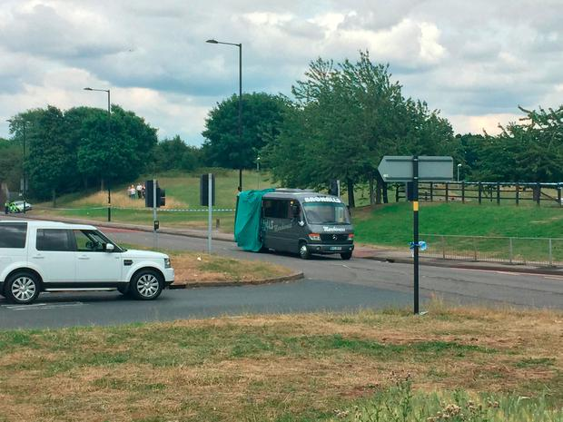 A school minibus that was involved in a fatal crash with a bin lorry on the A38 Kingsbury Road in the Castle Vale area of Birmingham.