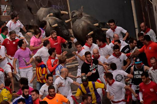 Americans gored in Pamplona's second bull run of 2017