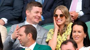 Amy Huberman and Brian O'Driscoll attend day five of the Wimbledon Tennis Championships at the All England Lawn Tennis and Croquet Club on July 7, 2017 in London, United Kingdom. (Photo by Karwai Tang/WireImage)