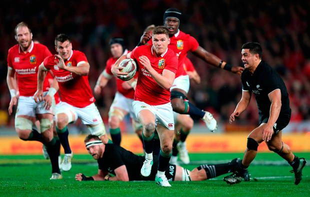 British and Irish Lions' Owen Farrell breaks during the third test of the 2017 British and Irish Lions tour at Eden Park, Auckland. PRESS ASSOCIATION Photo. Picture date: Saturday July 8, 2017. See PA story RUGBYU Lions. Photo credit should read: David Davies/PA Wire. RESTRICTIONS: Editorial use only. No commercial use or obscuring of sponsor logos. Editorial use only. No commercial use or obscuring of sponsor logos.