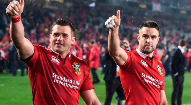 Conor Murray, right, and CJ Stander of the British & Irish Lions