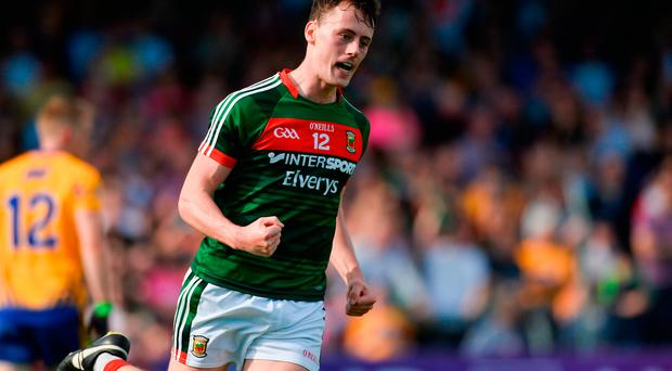 Diarmuid O'Connor of Mayo celebrates after scoring his side's second goal