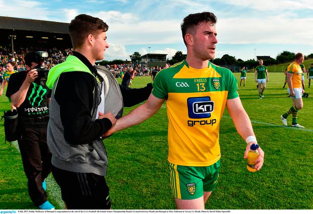 Paddy McBearty of Donegal is congratulated