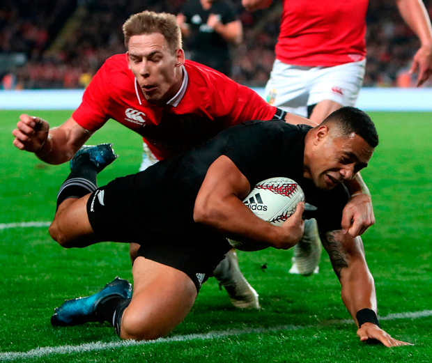 New Zealand's Ngani Laumape scores their first try. Photo: PA