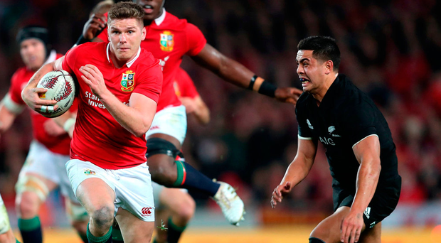British and Irish Lions' Owen Farrell breaks during the third test of the 2017 British and Irish Lions tour at Eden Park, Auckland. Photo: PA Wire