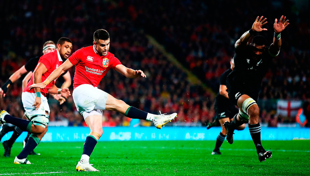 Conor Murray kicks upfield during yesterday's drawn test match in New Zealand. Photo: Getty Images