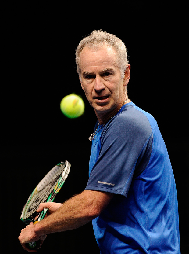 Ivan Lendl and John McEnroe (p) continue their on-court rivalry during a Hong Kong exhibition in 2013 Photo: Getty