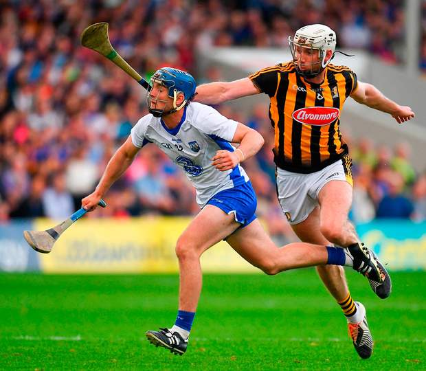 Patrick Curran of Waterford in action against Michael Fennelly of Kilkenny in Semple Stadium last night. Photo: Sportsfile