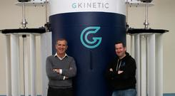 Vincent McCormack, founder GKinetic and Paul Collins, managing director, DesignPro with the turbine device