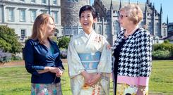 Scroll of honour: Director of Chester Beatty Library Fionnuala Croke and Tanaiste Frances Fitzgerald with Her Imperial Highness Princess Takamado of Japan Photo: Tony Gavin