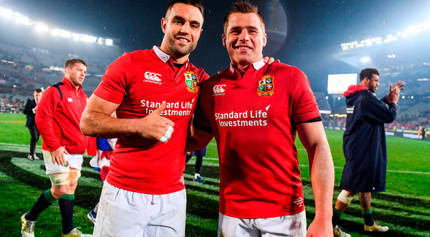 Conor Murray, left, and CJ Stander of the British & Irish Lions following the Third Test