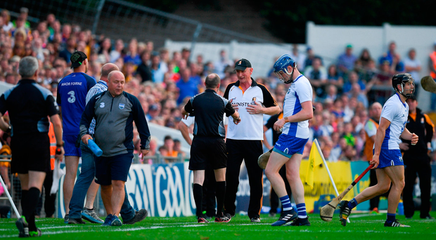 Kilkenny manager Brian Cody speaks to sideline official Justin Heffernan