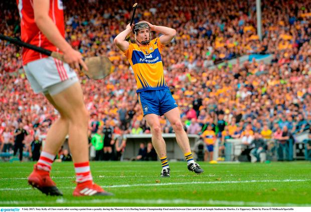 Tony Kelly of Clare reacts after scoring a point from a penalty