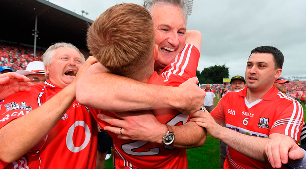 Cork manager Kieran Kingston celebrates after the Munster GAA Hurling Senior Championship Final match between Clare and Cork at Semple Stadium in Thurles, Co Tipperary. Photo by Brendan Moran/Sportsfile