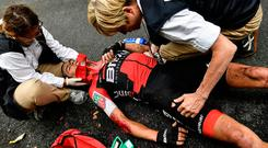 BMC leader Richie Porte is tended to by race medics after his crash. Photo: Getty Images