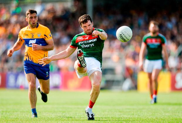 Mayo's Chris Barrett has a pop at goal. Photo: Diarmuid Greene/Sportsfile