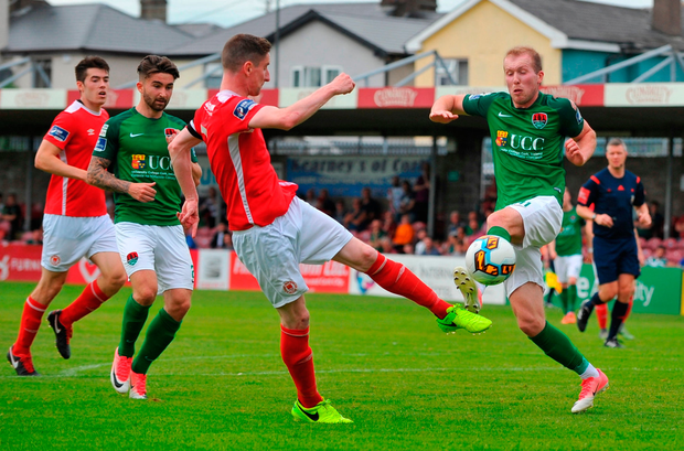Stephen Dooley of Cork City in action against Ian Bermingham of St Patrick's Athletic. Photo by Doug Minihane/Sportsfile