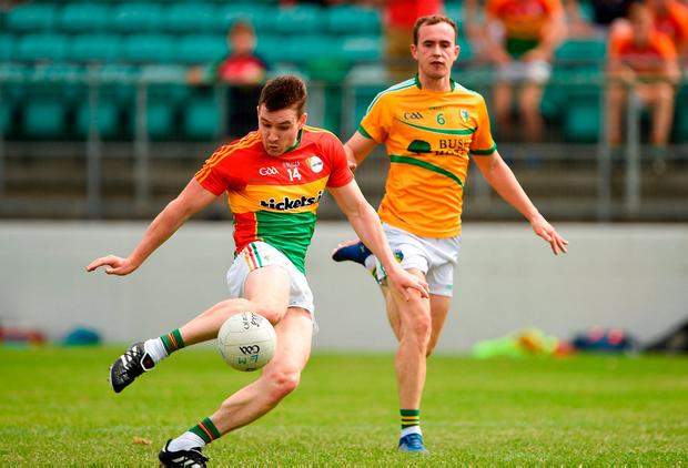 Carlow's Ciaran Moran sends the ball forward during the GAA Football All-Ireland Senior Championship Round 2B match between Carlow and Leitrim at Netwatch Cullen Park in Co Carlow. Photo: Barry Cregg/Sportsfile