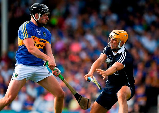 Dublin goalkeeper Conor Dooley saves a shot from point blank range from Dan McCormack. Photo: Ray McManus/Sportsfile