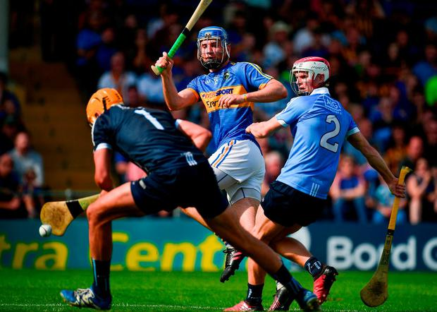 John McGrath puts away Tipperary's second goal of the game. Photo: Brendan Moran/Sportsfile