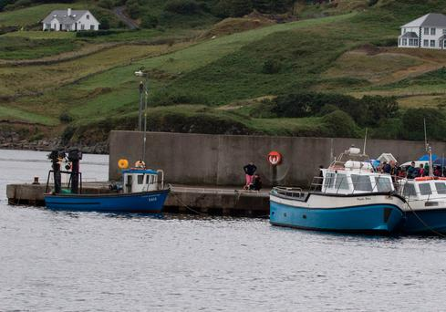 The pier at Teelin in west Donegal where two men left on their RIB on Saturday evening. (North West Newspix)