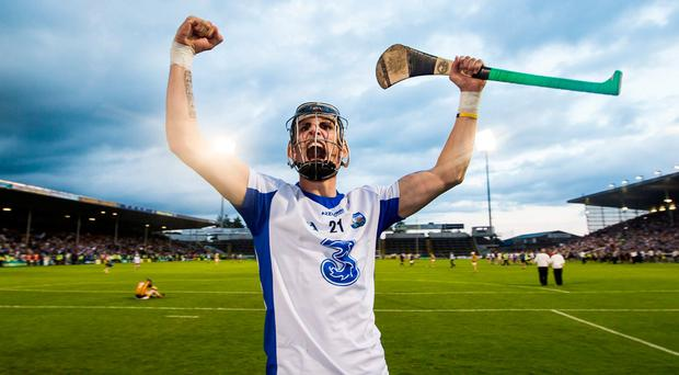 Maurice Shanahan shows his delight in front of Waterford's supporters after beating Kilkenny. Photo: TOMMY DICKSON/INPHO