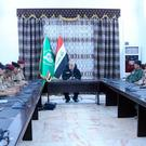 Iraqi Prime Minister Haider al-Abadi (C) meets with officers at the Nineveh Operations Headquarters in Mosul, Iraq, July 9, 2017. Iraqi Prime Minister Media Office/Handout via REUTERS