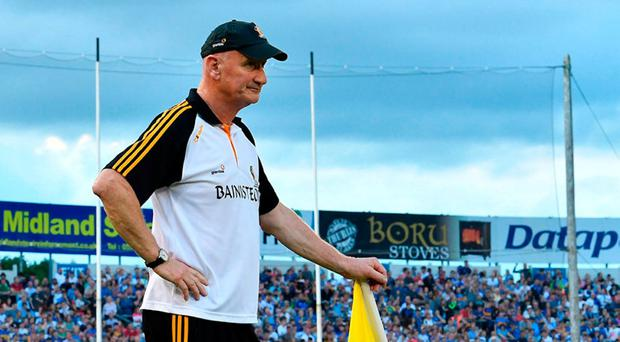 Brian Cody in pensive mood as he oversees Kilkenny's early exit from the Championship at Semple Stadium on Saturday night. Photo: SPORTSFILE