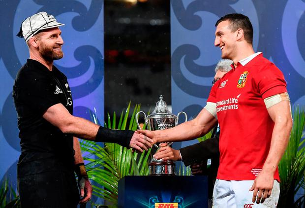 New Zealand captain Kieran Read, left, and British and Irish Lions captain Sam Warburton with the trophy following the Third Test match between New Zealand All Blacks and the British & Irish Lions at Eden Park in Auckland, New Zealand. Photo: Stephen McCarthy/Sportsfile