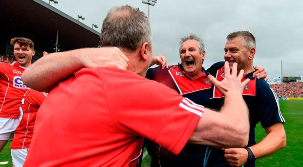 Cork manager Kieran Kingston, 2nd from right, and selector Diarmuid O'Sullivan celebrate at the final whistle of the Munster GAA Hurling Senior Championship Final match between Clare and Cork at Semple Stadium in Thurles, Co Tipperary. Photo: Brendan Moran/Sportsfile