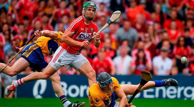 Alan Cadogan scores Cork's goal during their Munster SHC final victory against Clare. Photo: RAY MCMANUS/SPORTSFILE