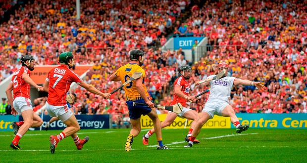 Cathal Malone's kicked shot hits the post. Photo: Piaras Ó Mídheach/Sportsfile