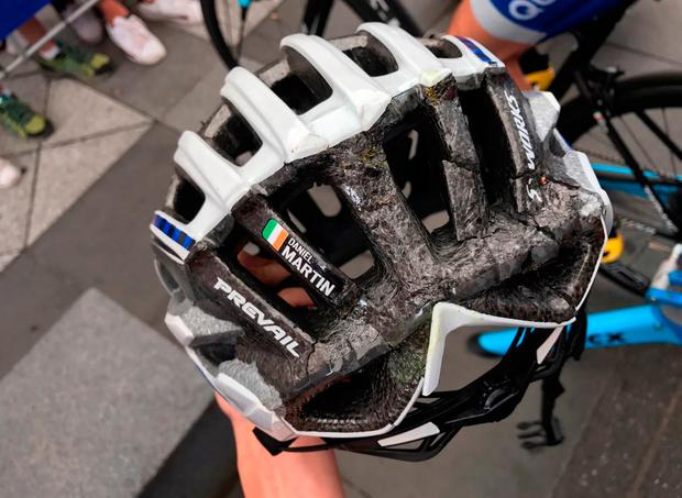 The cracked helmet of Daniel Martin. Photo: Getty Images