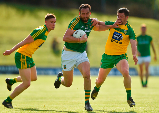 Graham Reilly of Meath in action against of Paddy McGrath of Donegal. Photo by David Maher/Sportsfile