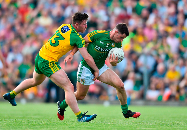 Donal Keogan of Meath in action against Patrick McBrearty of Donegal. Photo by David Maher/Sportsfile