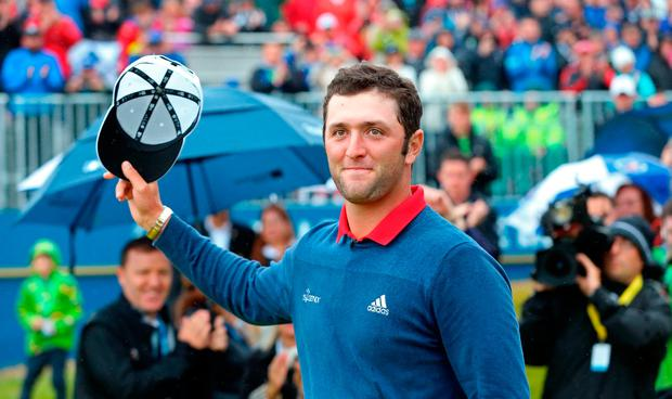Spain's Jon Rahm celebrates winning the Dubai Duty Free Irish Open at Portstewart Golf Club.