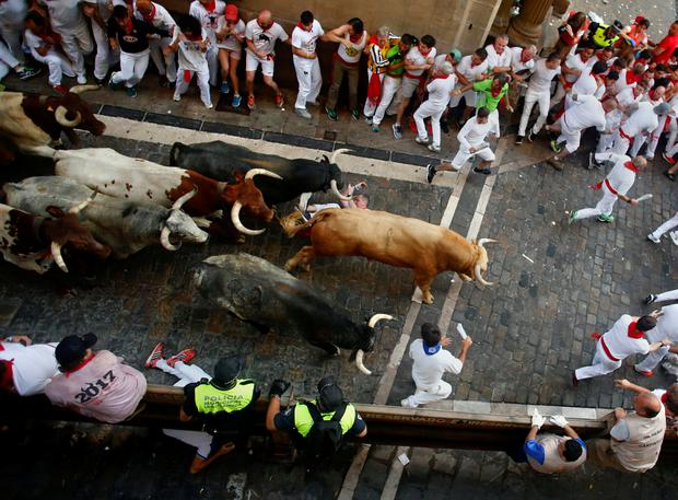 A daredevil participant is trampled in the San Fermines bull run. Picture: Reuters