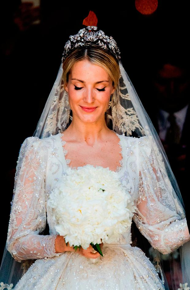 Ekaterina of Hanover leaves after her church wedding with Prince Ernst August of Hanover in Hanover, central Germany, on July 8, 2017