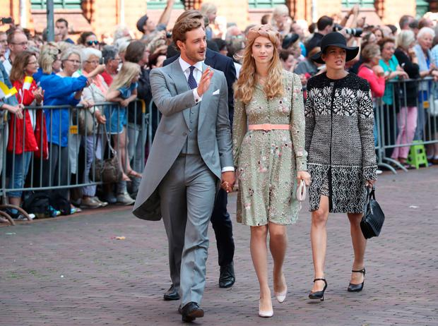 Pierre Casiraghi, son of Princess Caroline of Hanover (L), his wife Beatrice and his sister Charlotte Casiraghi arrive for the church wedding of Prince Ernst August of Hanover and Ekaterina of Hanover in Hanover, central Germany, on July 8, 2017