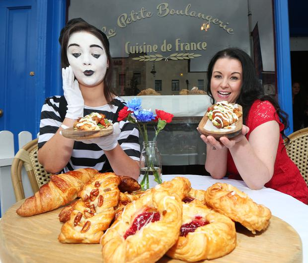 hef Louise Lennox and a Mime Artist at the pop-up café, La Petite Boulangerie by Cuisine de France