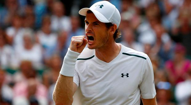 Great Britain's Andy Murray celebrates during his fourth round match against France's Benoit Paire REUTERS/Stefan Wermuth