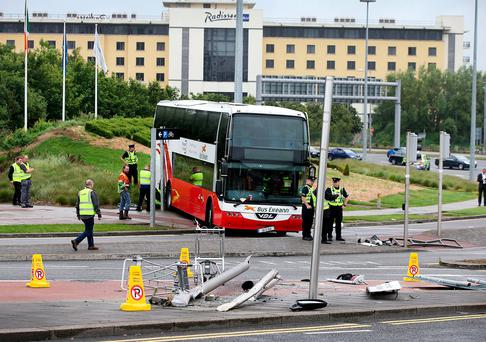 The scene at Dublin Airport after a bus rolled down the ramp leading to Terminal 2. Photo: Steve Humphreys