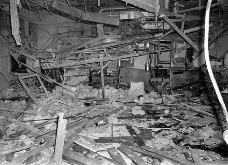 File photo of the wreckage left at the Mulberry Bush pub in Birmingham after a bomb exploded. Photo: PA