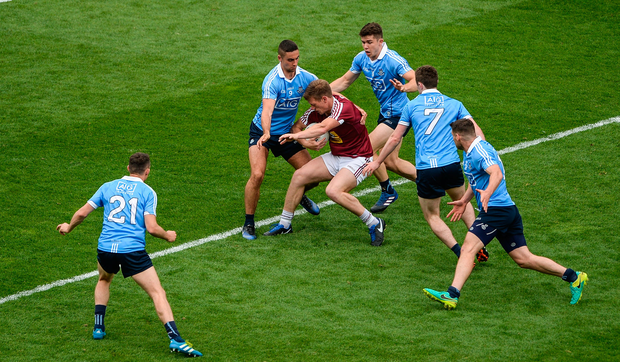 Westmeath's John Heslin is surrounded by Dublin players including (left to right): Darren Daly, James McCarthy, David Byrne, Jack McCaffrey and Kevin McManamon during the Leinster SFC semi-final at Croke Park last month. Photo by Daire Brennan/Sportsfile