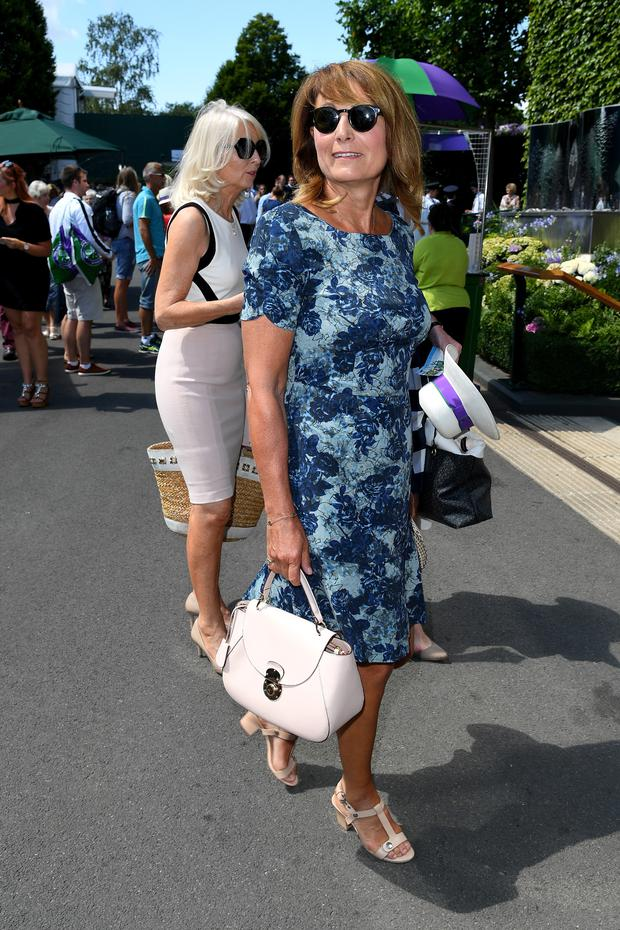 Carole Middleton attends day seven of the Wimbledon Tennis Championships at the All England Lawn Tennis and Croquet Club on July 10, 2017 in London, United Kingdom. (Photo by Karwai Tang/WireImage)