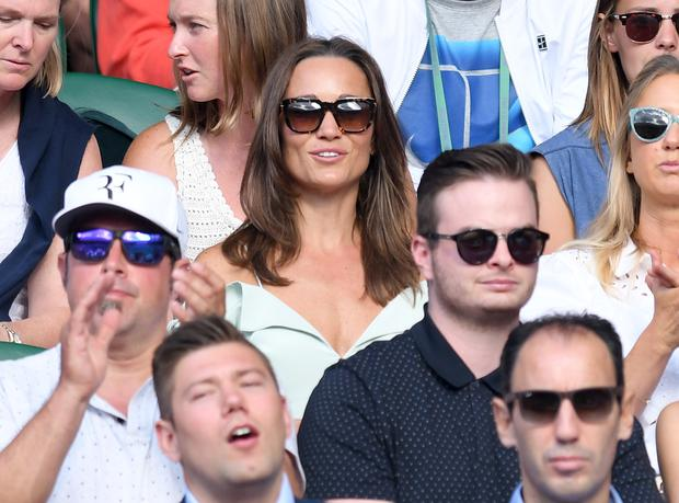 Pippa Middleton attends day seven of the Wimbledon Tennis Championships at the All England Lawn Tennis and Croquet Club on July 10, 2017 in London, United Kingdom. (Photo by Karwai Tang/WireImage)