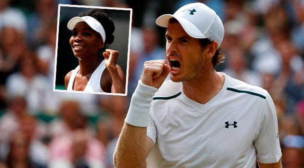 Andy Murray and (inset) Venus Williams