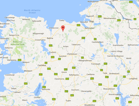 The 78-year-old who died when his tractor when it overturned in a cul-de-sac in the Tawnamore townland near Culleens, about three miles from Dromore West around 2.30pm on Saturday. Image: Google